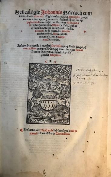 Frontespizio - Genealogia degli Dei di Boccaccio - 1511