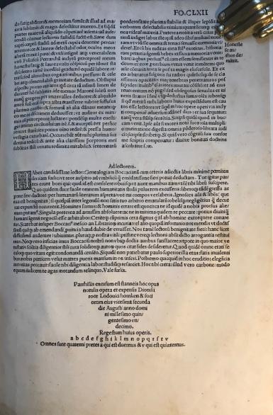 Colophon - Genealogia degli Dei di Boccaccio - 1511