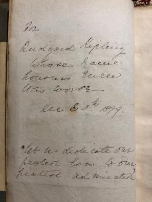 La dedica (anonima) a Kipling datata 1899