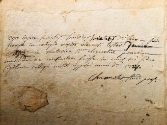 Nota manoscritta coeva - datata 1727