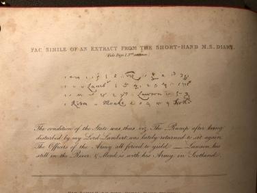 Scrittura stenografica di Pepys - dalla prima edizione stampata del 1825