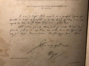 """Scrittura """"in chiaro"""" di Pepys - dalla prima edizione stampata del 1825"""