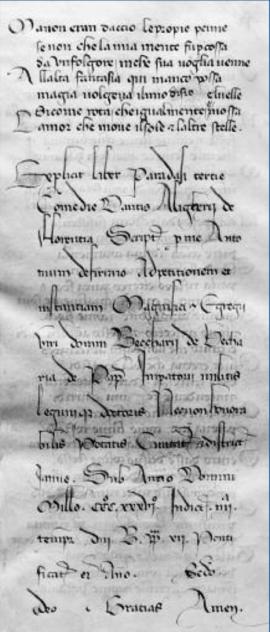 Explicit del Codice Landiano - Piacenza Biblioteca Comunale Passerini-Landi